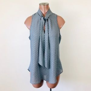 Socialite Gray Metallic Patterned Tie Neck Blouse